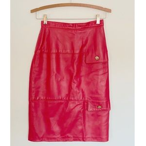 Vintage Bettina Red Leather Pencil Skirt
